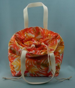 トート、バッグ、ミニ、きんちゃく、美しい、夏、モンステラ、オレンジ、イエロー