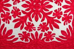 60センチ角、ハワイアンキルト、ムラ染め、タペストリー、手縫い、色合い、ハイビスカス、レッド、ホワイト