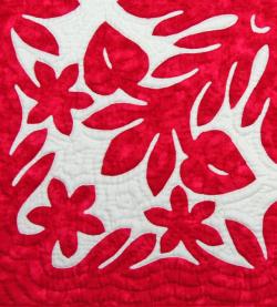 60センチ角、ハワイアンキルト、ムラ染め、タペストリー、手縫い、色合い、アンスリウム、レッド、ホワイト