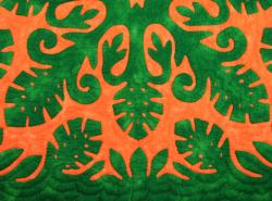 60センチ角、ハワイアンキルト、ムラ染め、タペストリー、手縫い、色合い、モンステラウィズボーダー、グリーン、オレンジ