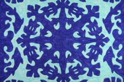 60センチ角、ハワイアンキルト、ムラ染め、タペストリー、手縫い、色合い、ドルフィンタートル、ブルー、パステルブルー