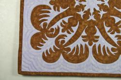 60センチ角、ハワイアンキルト、ムラ染め、タペストリー、手縫い、色合い、夕日とやしの木、ダークブラウン、パープル