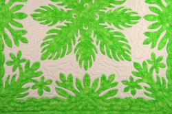 60センチ角、ハワイアンキルト、ムラ染め、タペストリー、手縫い、色合い、シルバーソード、パステルグリーン、ホワイト