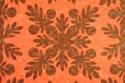 60センチ角、ハワイアンキルト、ムラ染め、タペストリー、手縫い、色合い、ブレッドフルーツ、ダークブラウン、オレンジ