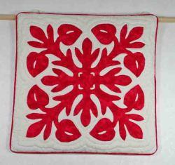 ハワイアンキルト、ムラ染め、クッションカバー、手縫い、壁掛けサンプル