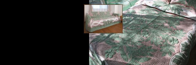 ハワイアンキルトマルチカバー ベッドカバー
