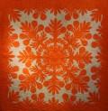 ハワイアンキルト、タペストリー、壁掛け、ブレッドフルーツ、ライトオレンジ&ホワイト、正面